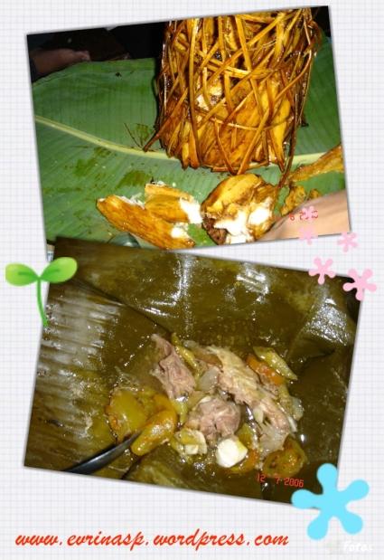 Atas: singkong yang diberi gula merah (lupa nama makanannya), bawah: garang asem maknyusss