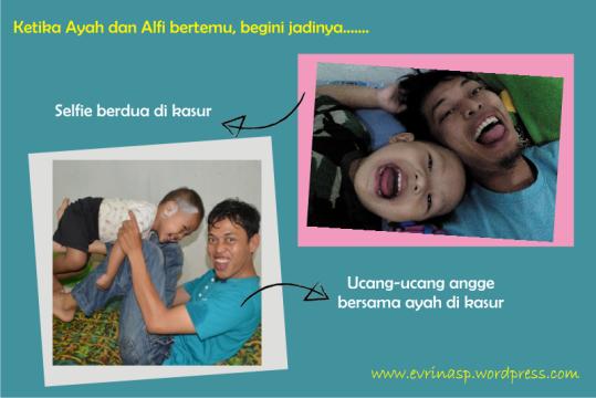 Ayah dan Alfi bermain di kasur di rumah Bogor